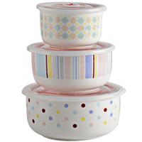 陶瓷保鲜碗三件套保鲜盒泡饭碗