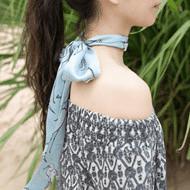 Lost Pattern·小白鹭印花真丝缎面窄丝巾