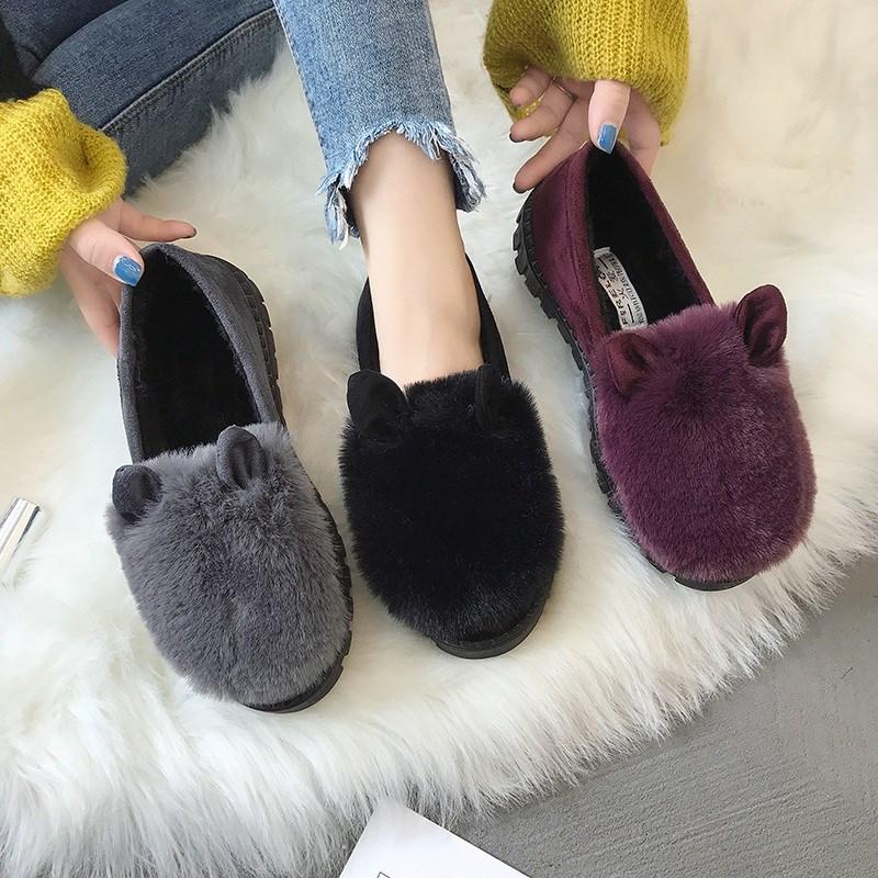 【网红同款】冬季加绒毛毛鞋豆豆鞋