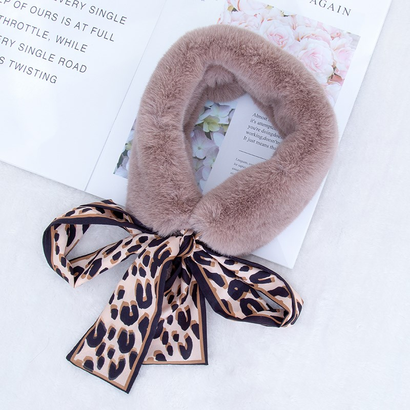豹纹丝带毛领兔毛绒围脖