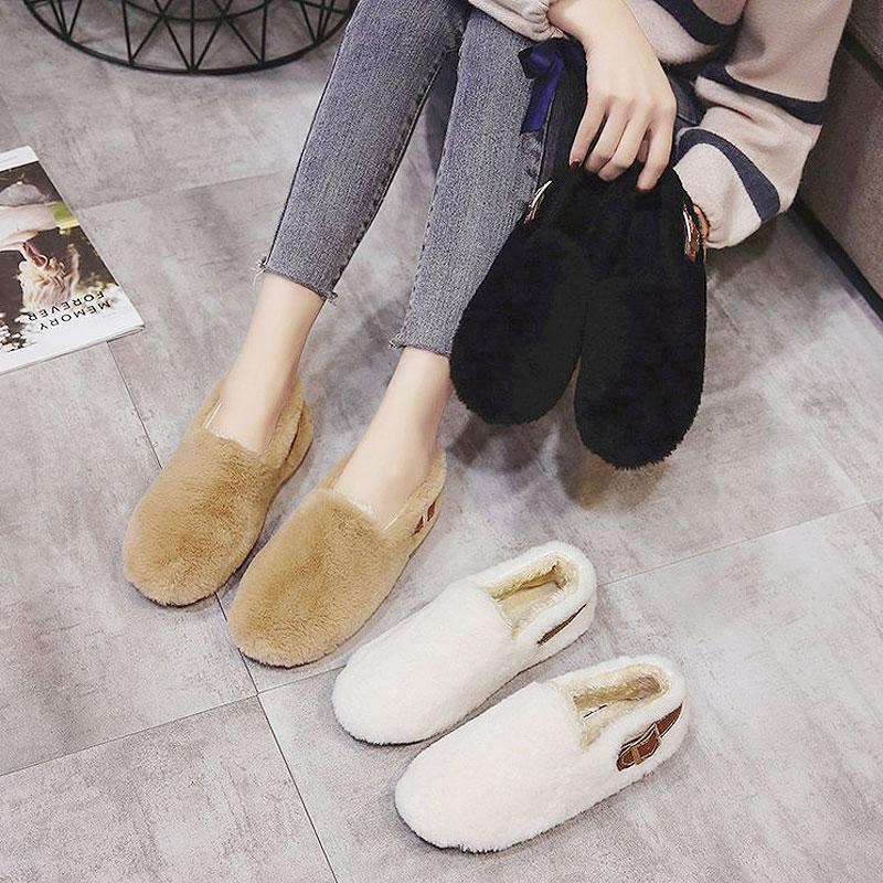 豆豆鞋女百搭平底毛毛鞋学生棉鞋