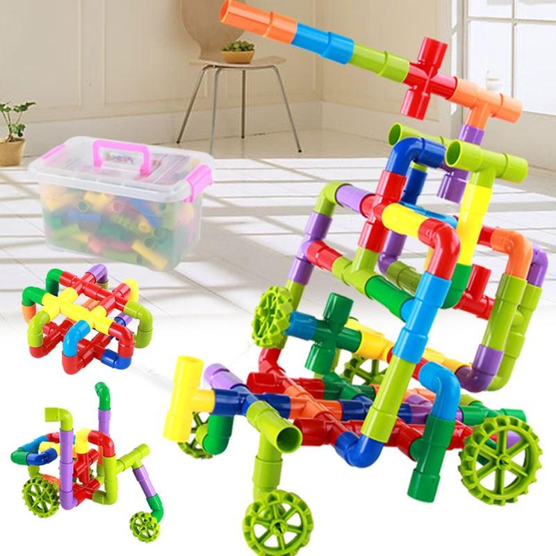 水管道塑料拼装插玩具38件装带收纳箱