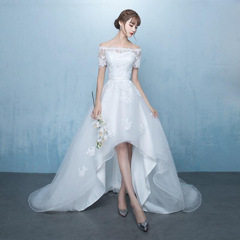 一字肩拖尾婚纱礼服