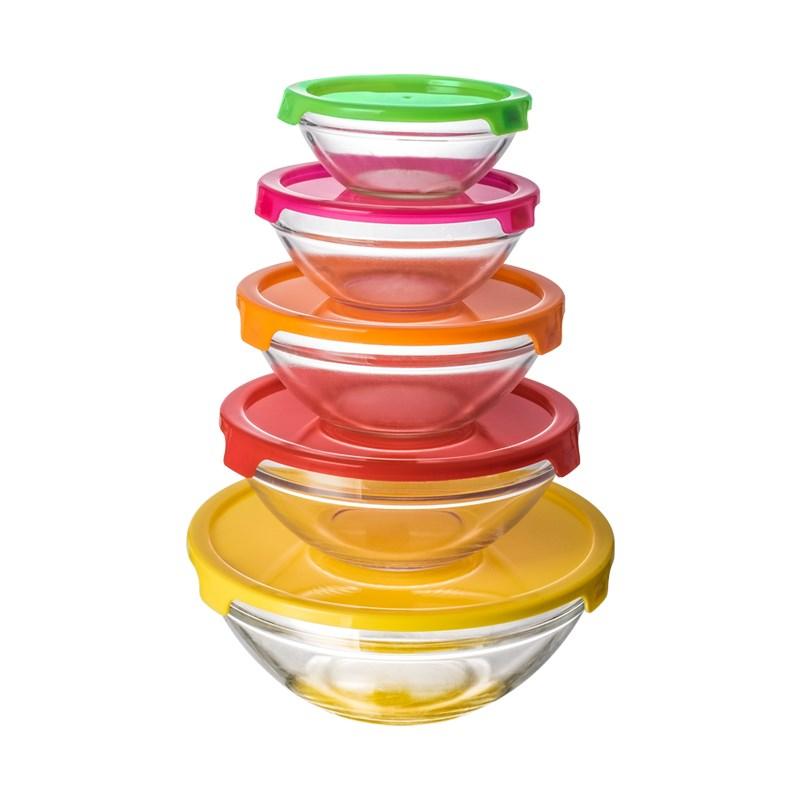 隆年华圆形玻璃保鲜盒五件套