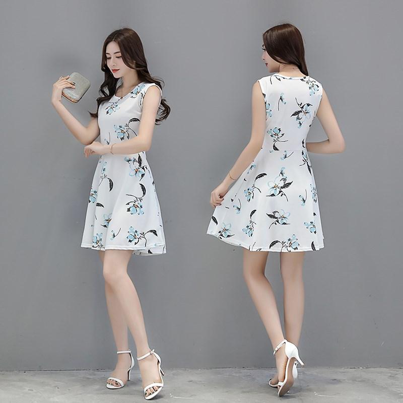 韩版女装A字中长款连衣裙