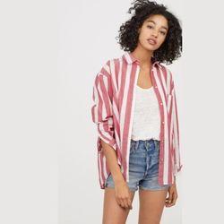 H&M 大码条纹 女士衬衫