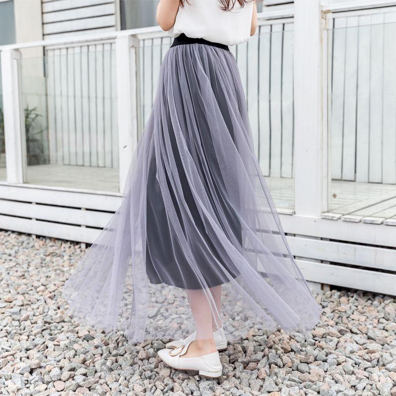 夏季网纱裙半身裙百褶裙