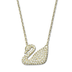 施华洛世奇 水晶项链 金色天鹅