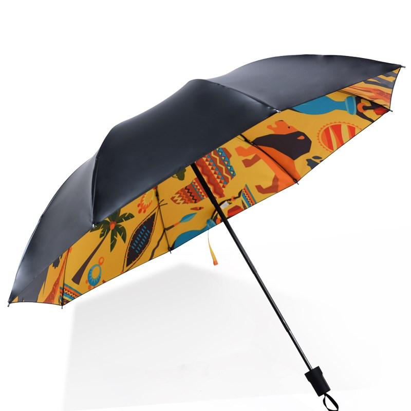羚羊早安折叠黑胶晴雨伞
