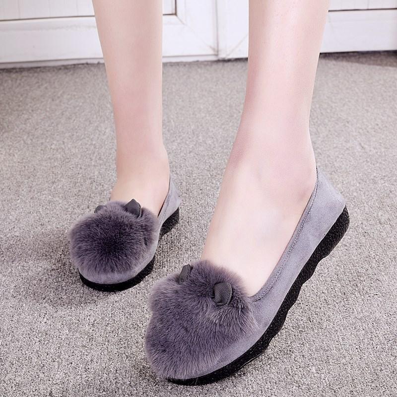 兔耳朵休闲豆豆鞋