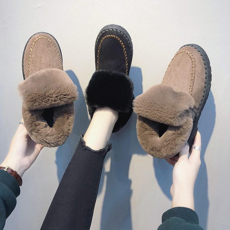 【抖音同款】加绒韩版平底豆豆鞋